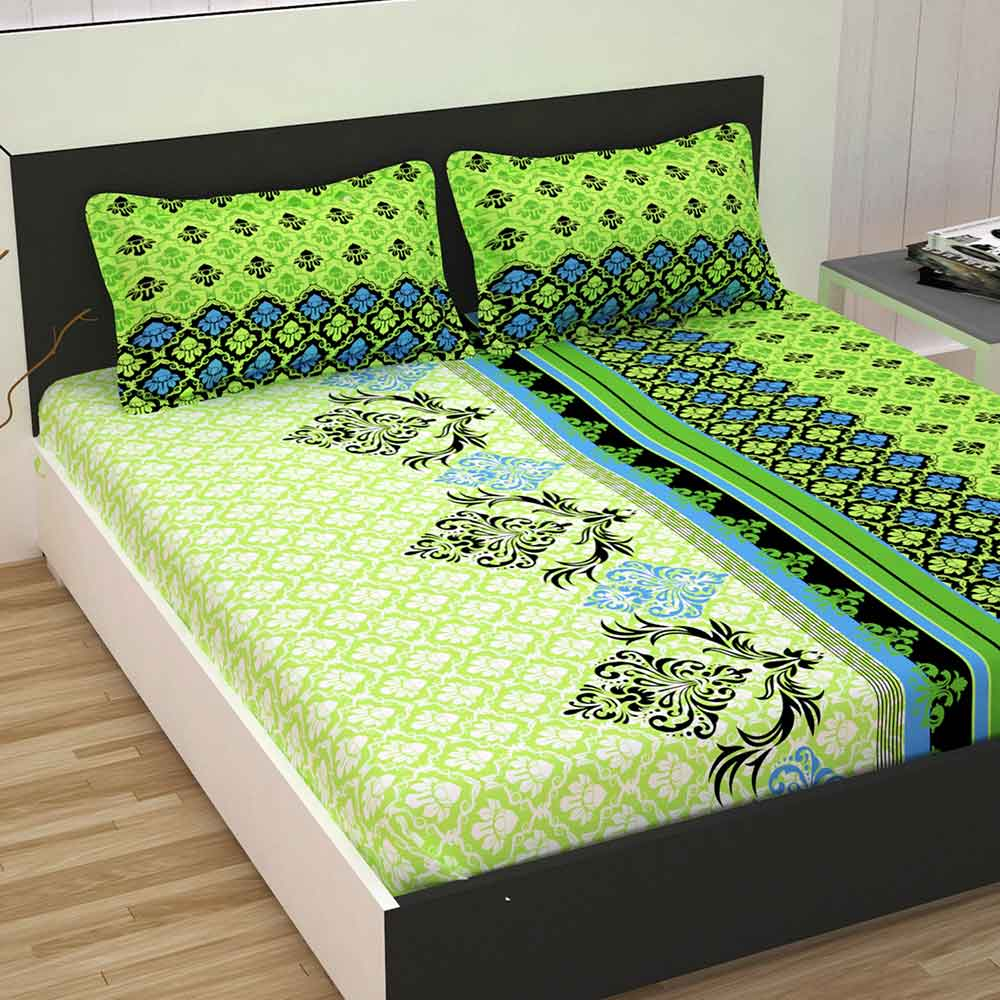 Divine Casa 100% Queen Size Bed Sheet With 2 Pillow Covers Cotton 144 TC, Floral – Green & Blue