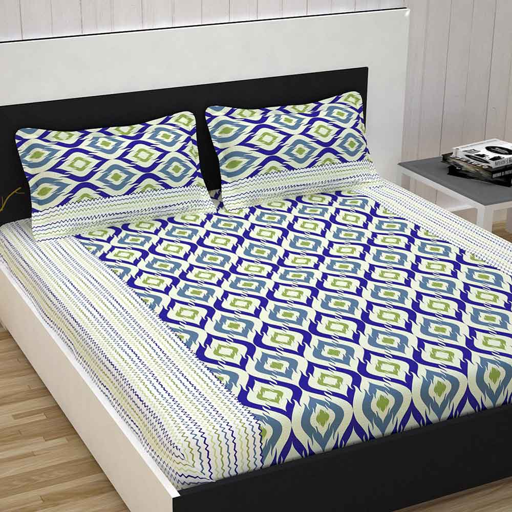 Divine Casa 100% Cotton Premium 144 TC Double Bed Sheet With 2 Pillow Covers, Abstract – Blue & Green