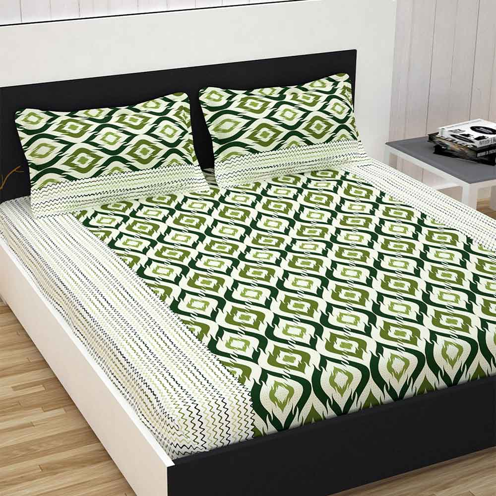 Divine Casa 100% Cotton Premium 144 TC Double Bed Sheet With 2 Pillow Covers, Abstract – Green & Khakhi