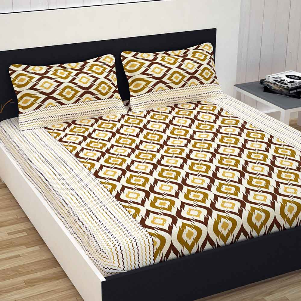 Divine Casa 100% Cotton Double Bed Sheet With 2 Pillow Covers Premium 144 TC, Abstract – Brown & Beige