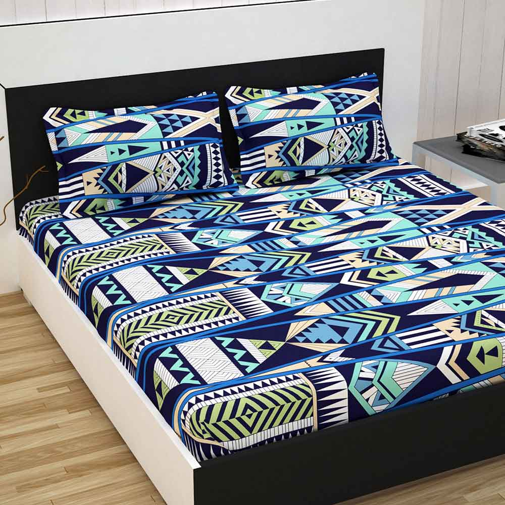 Divine Casa 100% Cotton Double Bed Sheet With 2 Pillow Covers Premium 144 TC, Abstract – Blue & Green
