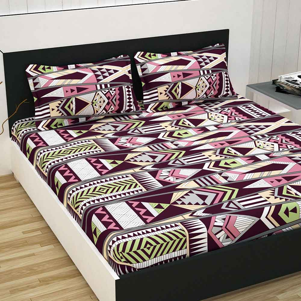 Divine Casa 100% Premium Double Bed Sheet With 2 Pillow Covers Cotton 144 TC, Abstract – Maroon & Green