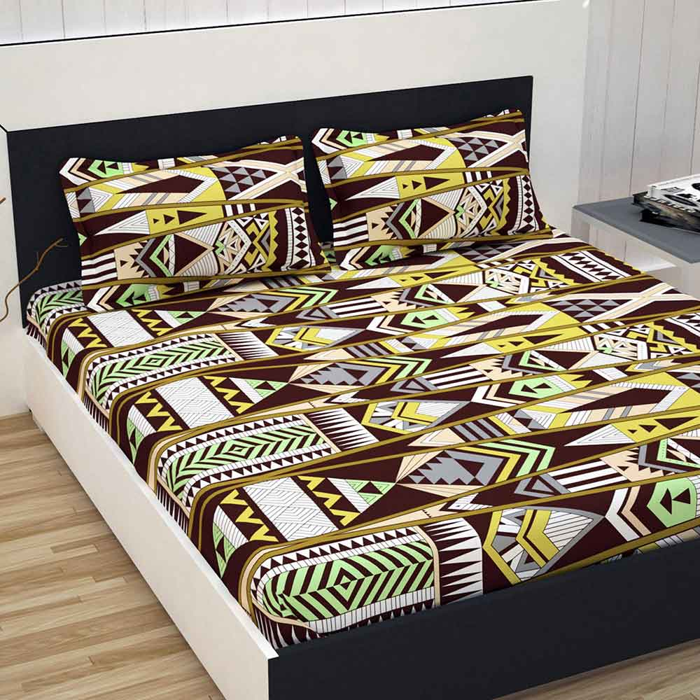 Divine Casa 100% Cotton Double Bed Sheet With 2 Pillow Covers Premium 144 TC, Abstract – Brown & Yellow