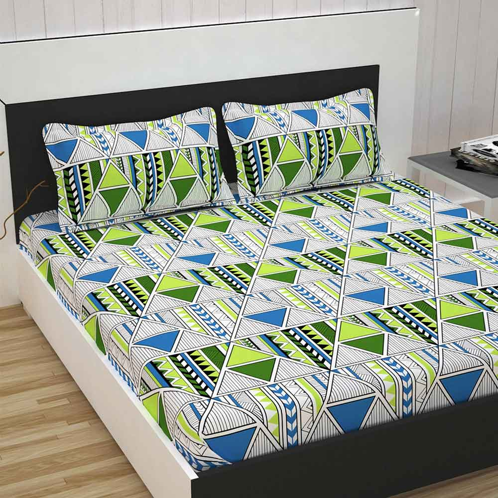 Divine Casa 100% Cotton Premium 144 TC Double Bed Sheet With 2 Pillow Covers, Abstract – Green & Blue