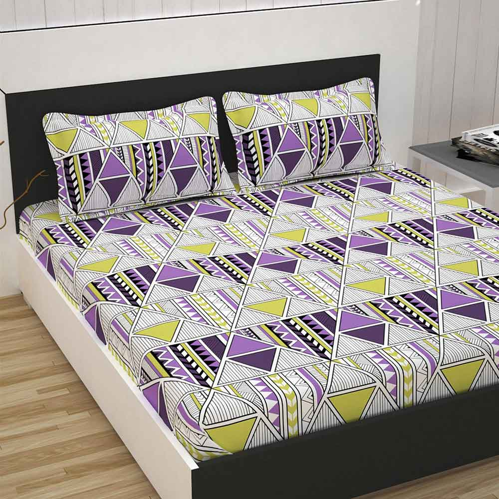 Divine Casa 100% Cotton Premium Double Bed Sheet With 2 Pillow Covers 144 TC, Abstract – Purple & Yellow