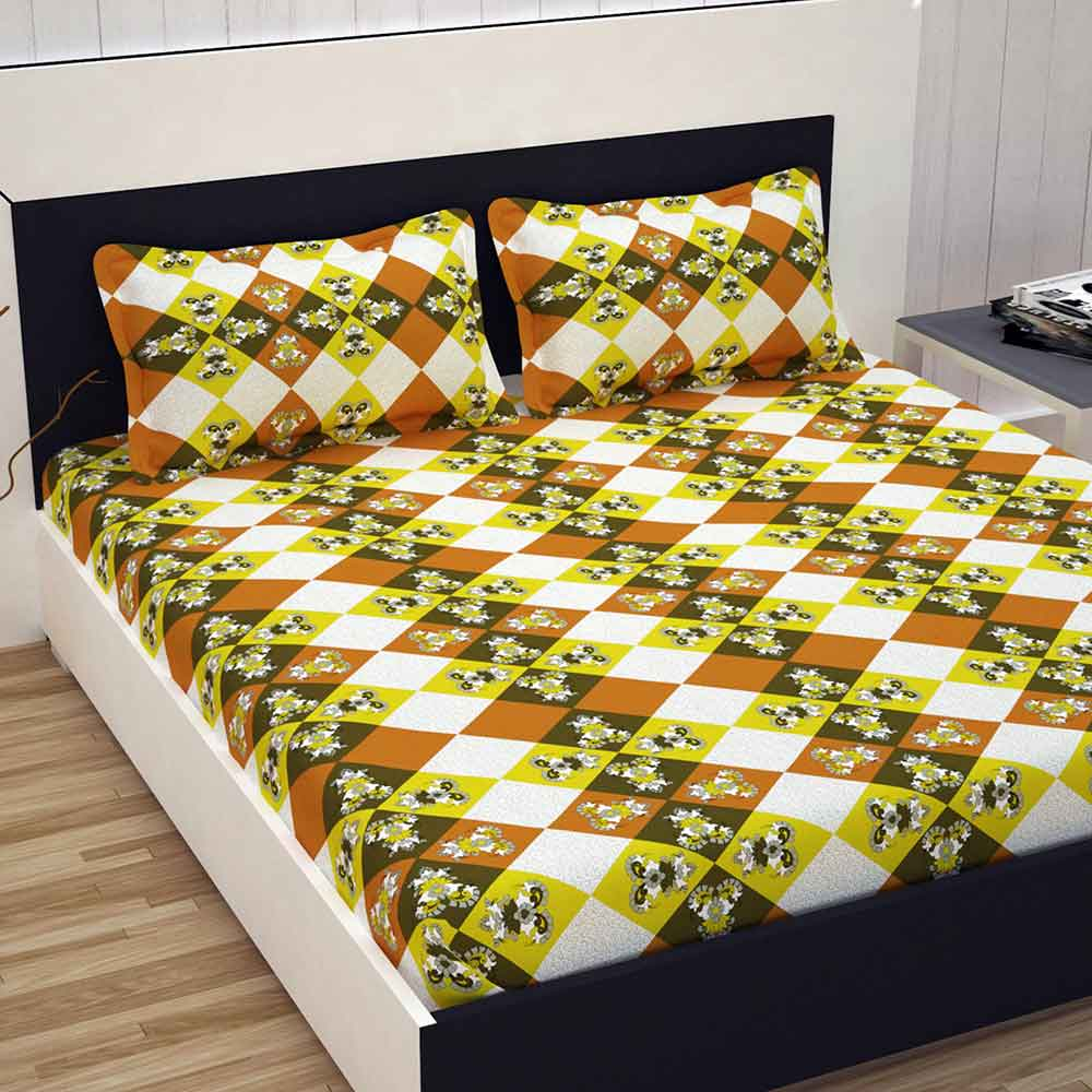 Divine Casa 100% Cotton Premium 144 TC Double Bed Sheet With 2 Pillow Covers, Floral – Yellow & Orange