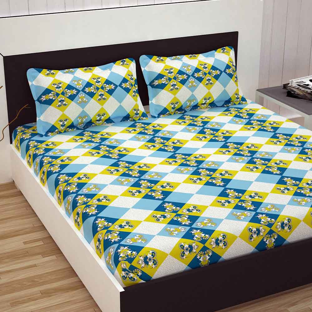 Divine Casa 100% Cotton Premium Double Bed Sheet With 2 Pillow Covers 144 TC, Floral – Sky Blue & Yellow