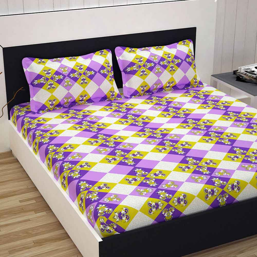 Divine Casa 100% Cotton 144 TC Double Bed Sheet With 2 Pillow Covers, Floral – Yellow & Purple