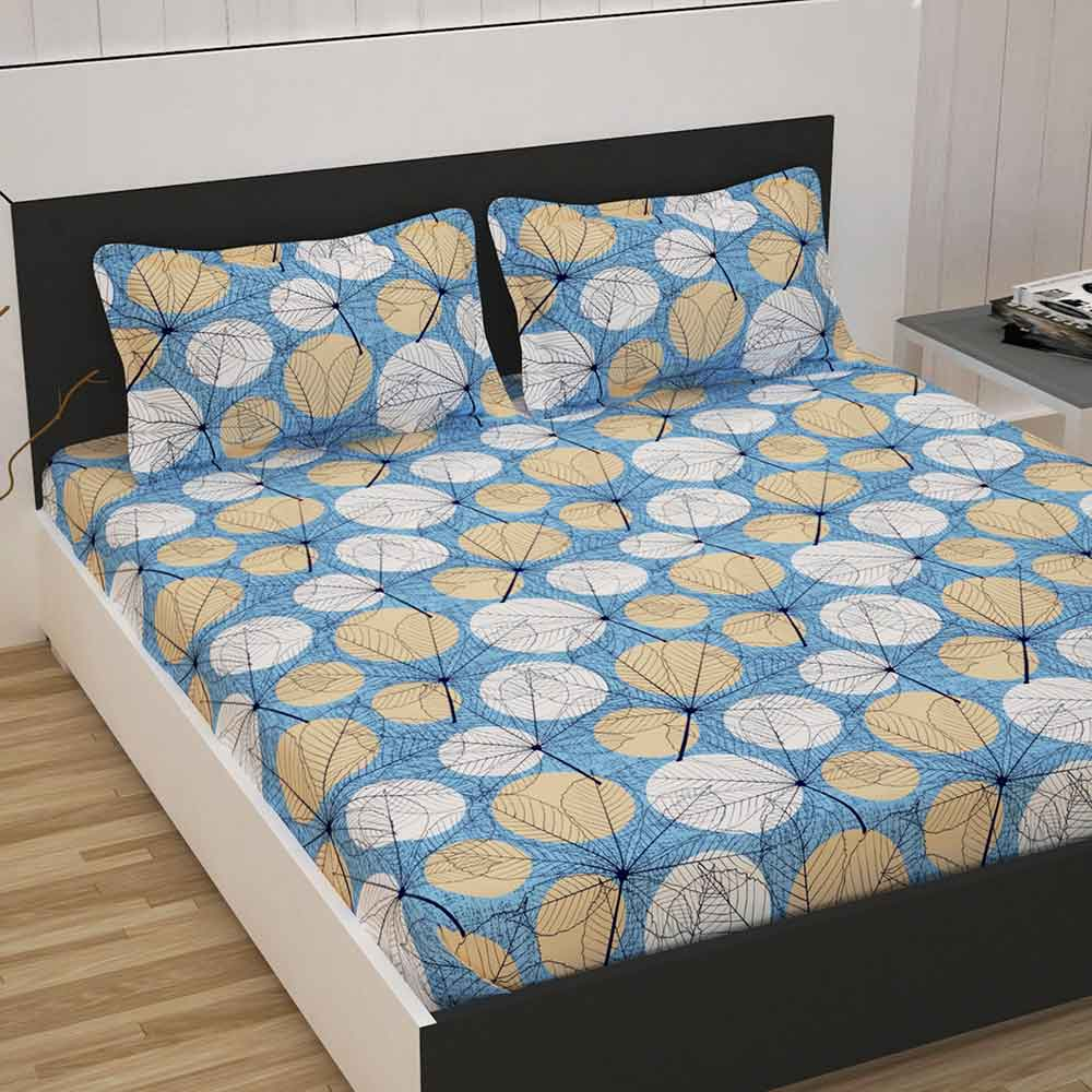 Divine Casa 100% Cotton Double Bed Sheet With 2 Pillow Covers Premium 144 TC, Floral – Blue & Beige