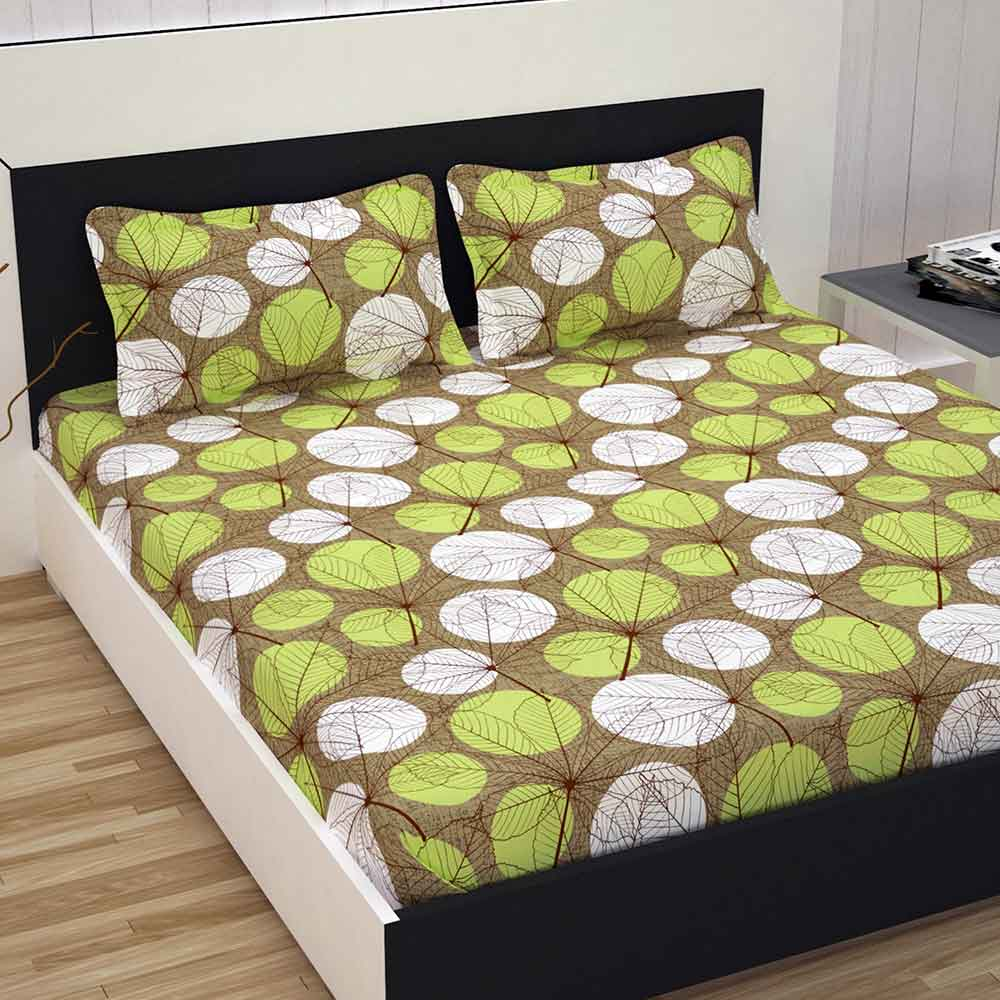 Divine Casa 100% Cotton Double Bed Sheet With 2 Pillow Covers Premium 144 TC, Floral – Green & Brown