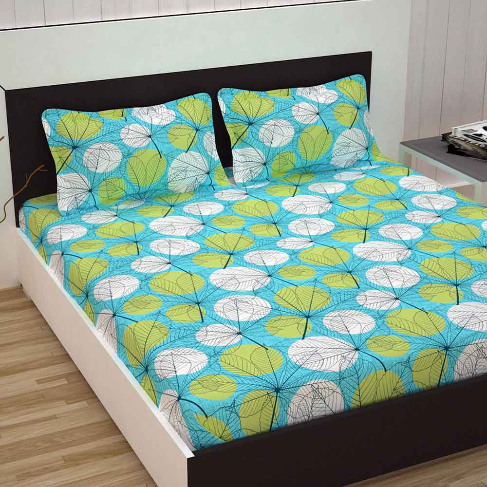 Divine Casa 100% Premium Double Bed Sheet With 2 Pillow Covers Cotton 144 TC, Floral – Green & Turquoise