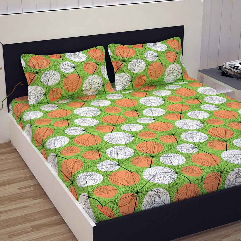 Divine Casa 100% Premium Double Bed Sheet With 2 Pillow Covers Cotton 144 TC, Floral – Green & Orange