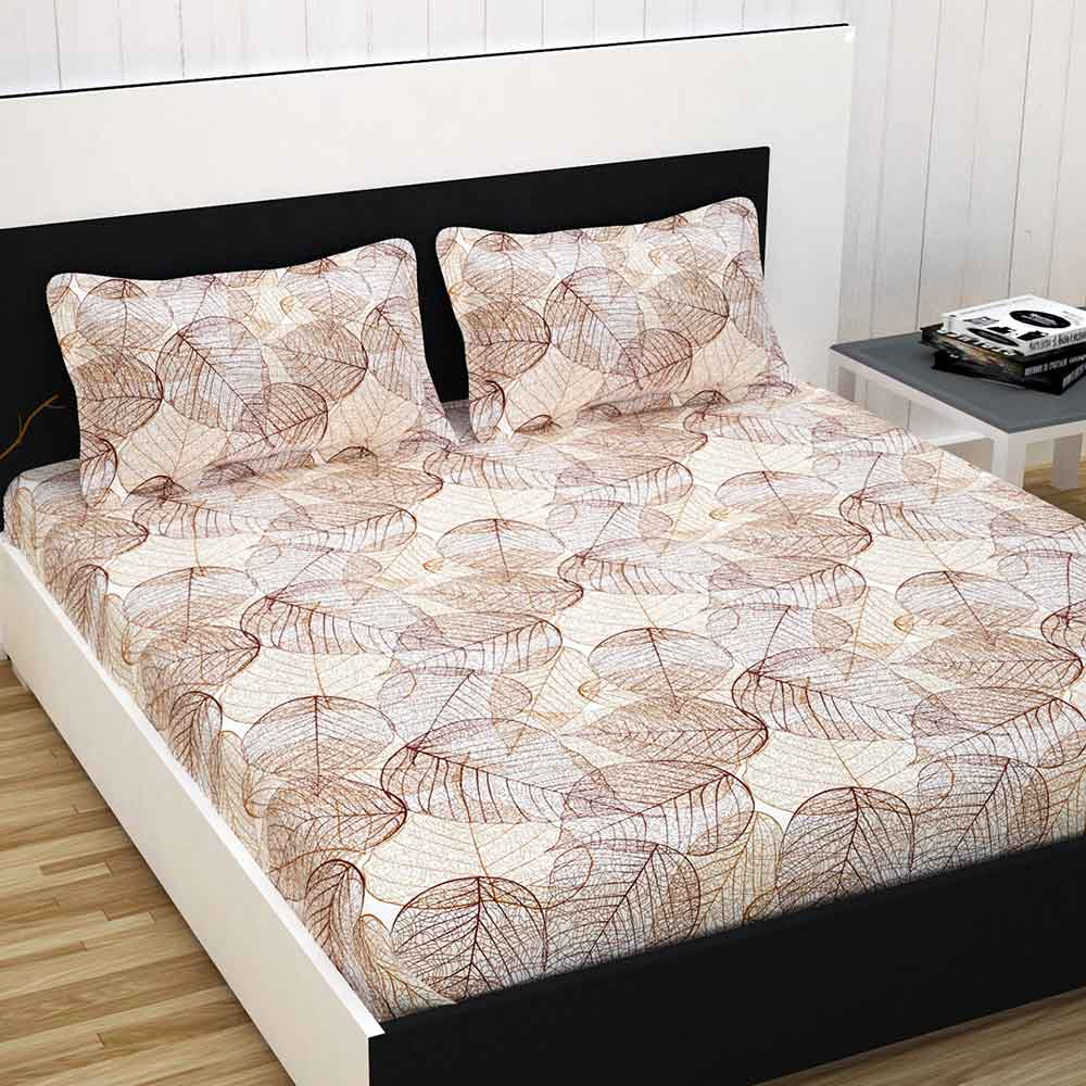 Divine Casa 100% Premium Double Bed Sheet With 2 Pillow Covers Cotton 144 TC, Floral – Peach & Brown