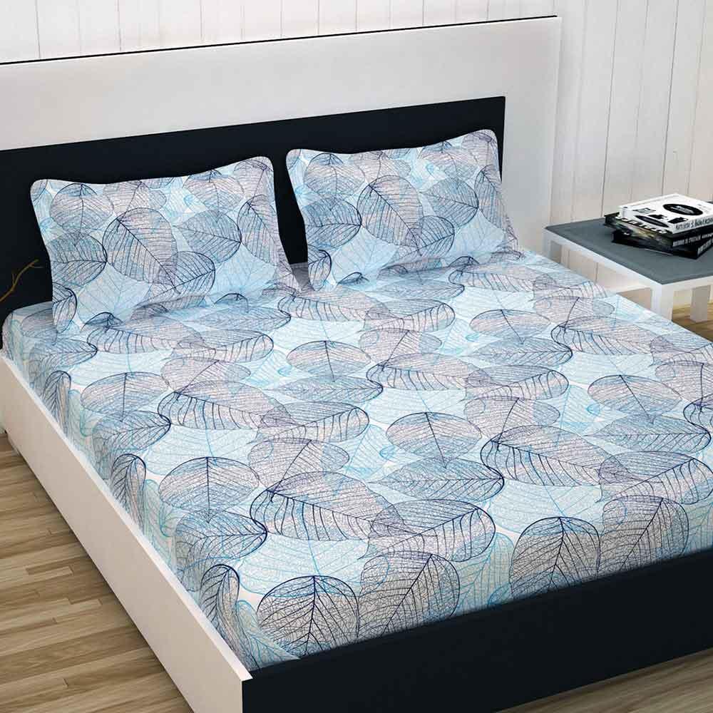 Divine Casa 100% Cotton Premium Double Bed Sheet With 2 Pillow Covers 144 TC, Floral – Blue & Sky Blue