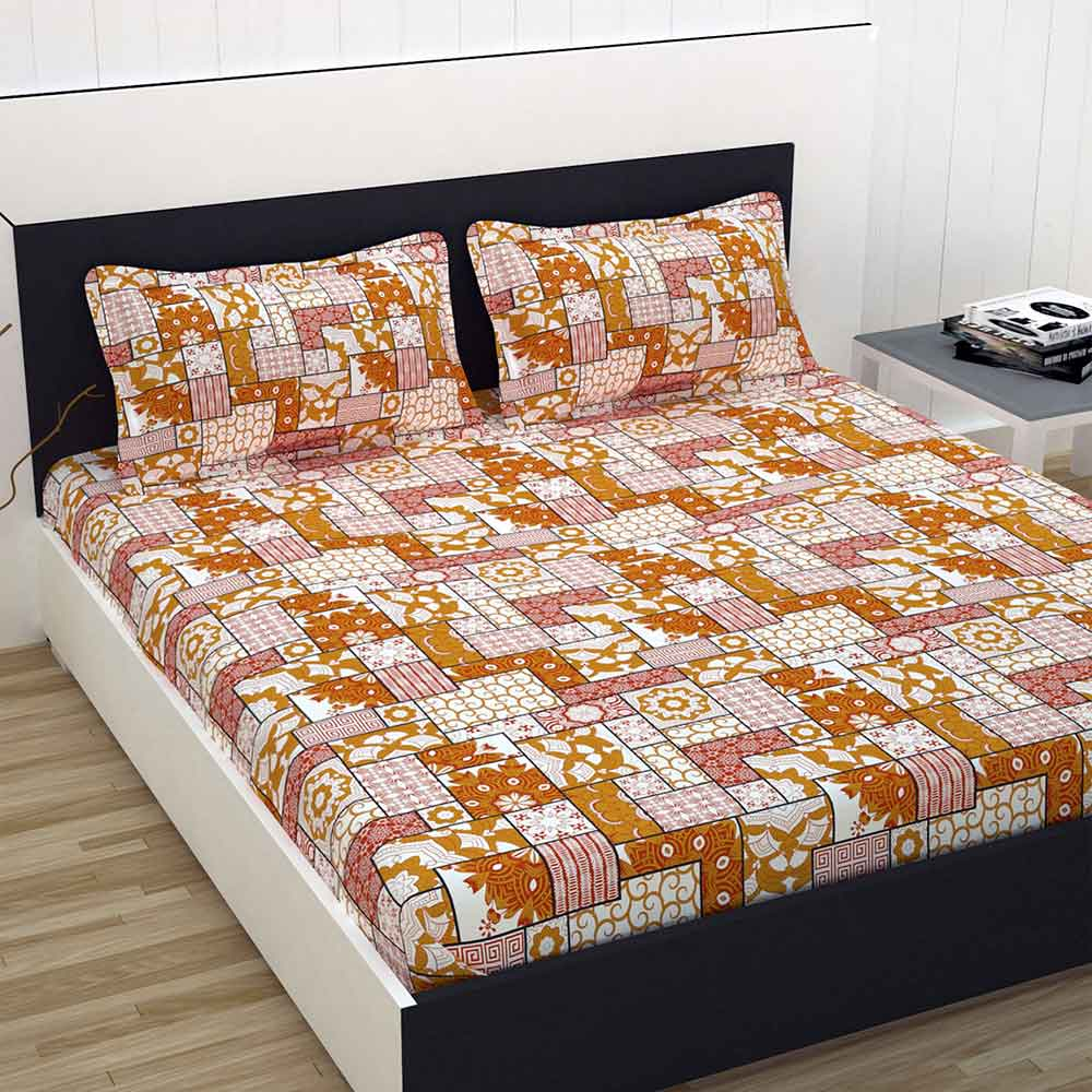 Divine Casa 100% Cotton Premium Double Bed Sheet With 2 Pillow Covers 144 TC, Floral – Yellow & Red