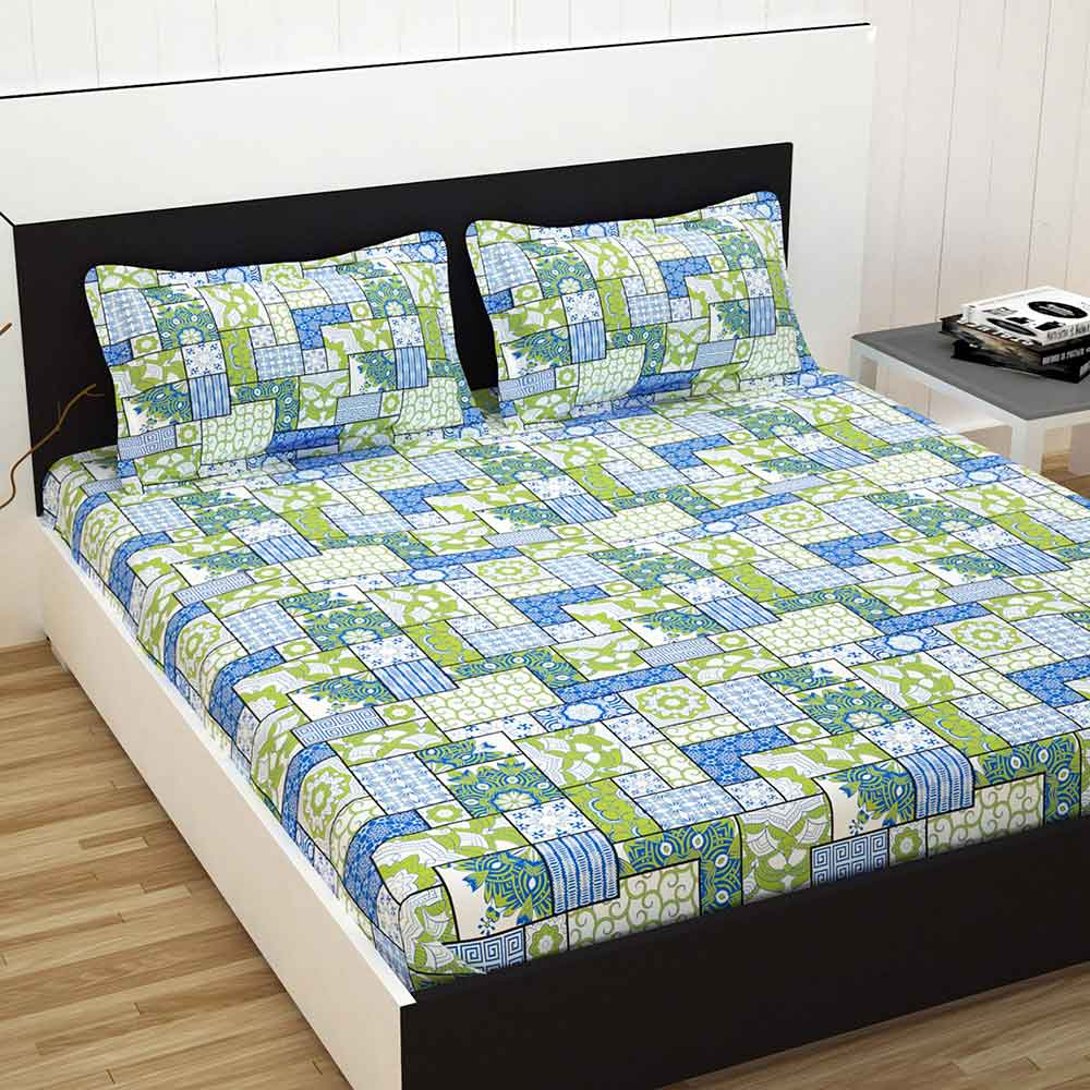 Divine Casa 100% Cotton Premium Double Bed Sheet With 2 Pillow Covers 144 TC, Floral – Sky Blue & Green