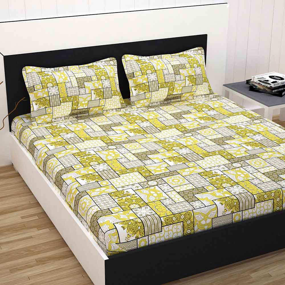 Divine Casa 100% Cotton Premium Double Bed Sheet With 2 Pillow Covers 144 TC, Floral – Yellow & Black