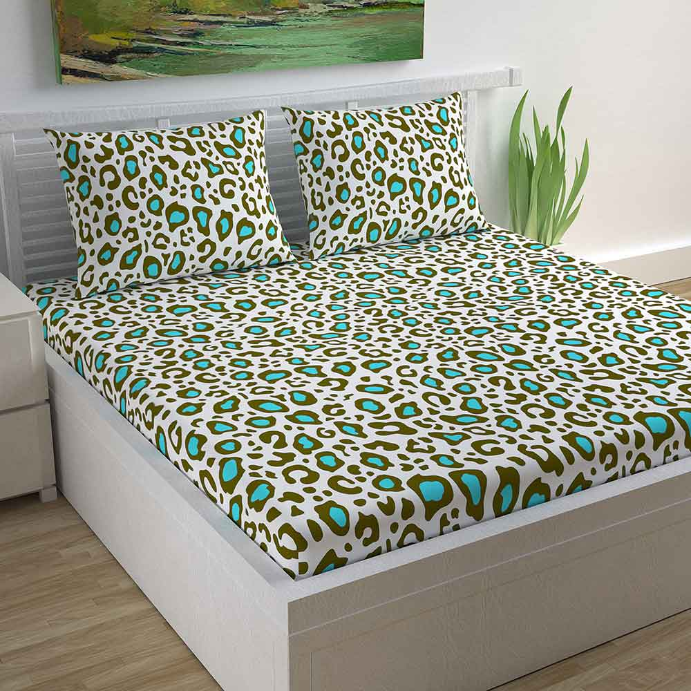 Divine Casa Magic 104 TC Cotton Double Bedsheet with 2 Pillow Covers – Modern, Green