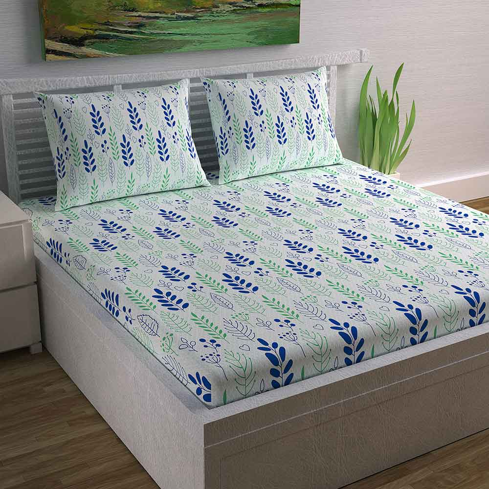 Divine Casa Magic 104 TC Cotton Double Bedsheet with 2 Pillow Covers – Floral, Green