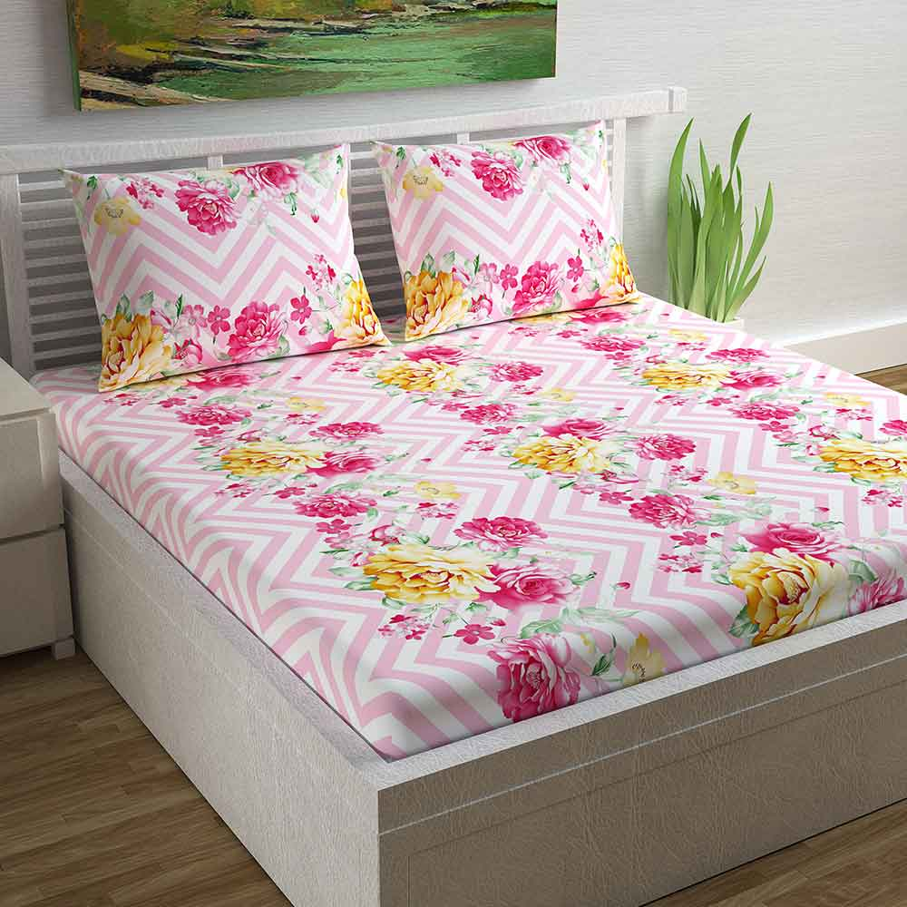 Divine Casa Magic 104 TC Cotton Double Bedsheet with 2 Pillow Covers – Floral, Pink