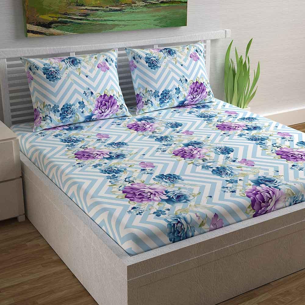 Divine Casa Magic 104 TC Cotton Double Bedsheet with 2 Pillow Covers – Floral, Purple