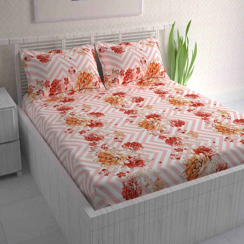 Divine Casa Magic 104 TC Cotton Double Bedsheet with 2 Pillow Covers – Floral, Orange