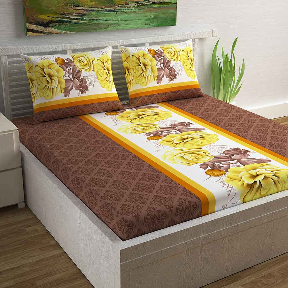 Divine Casa Magic 104 TC Cotton Double Bedsheet with 2 Pillow Covers – Modern, Dark Brown