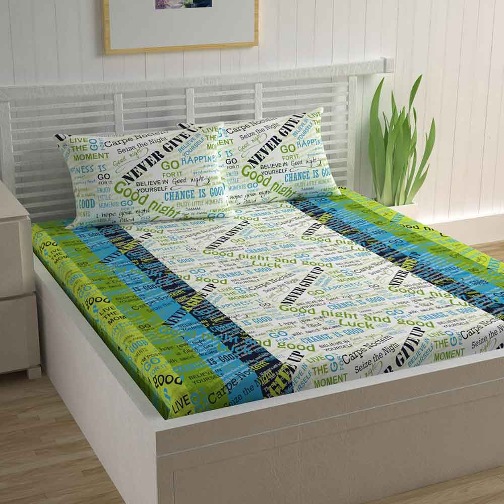 Divine Casa Magic 104 TC Cotton Double Bedsheet with 2 Pillow Covers – Modern, Printed Green