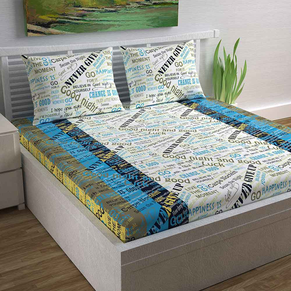 Divine Casa Magic 104 TC Cotton Double Bedsheet with 2 Pillow Covers – Modern, Printed Blue