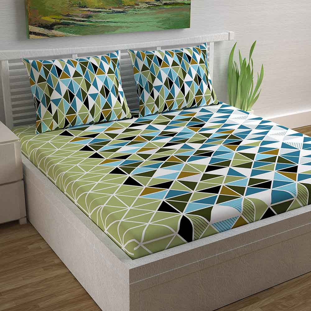 Divine Casa Magic 104 TC Cotton Double Bedsheet with 2 Pillow Covers – Geometric, Triangle Blue