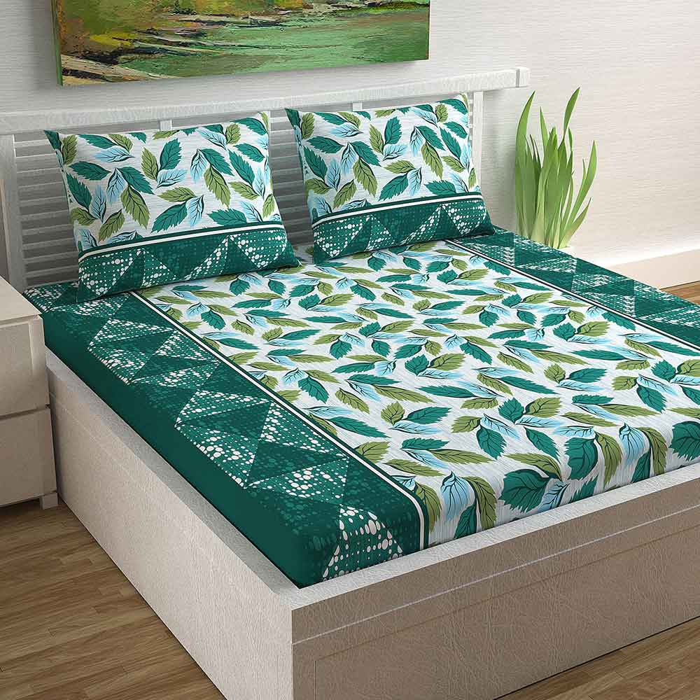 Divine Casa Magic 104 TC Cotton Double Bedsheet with 2 Pillow Covers – Modern, Leaves Green