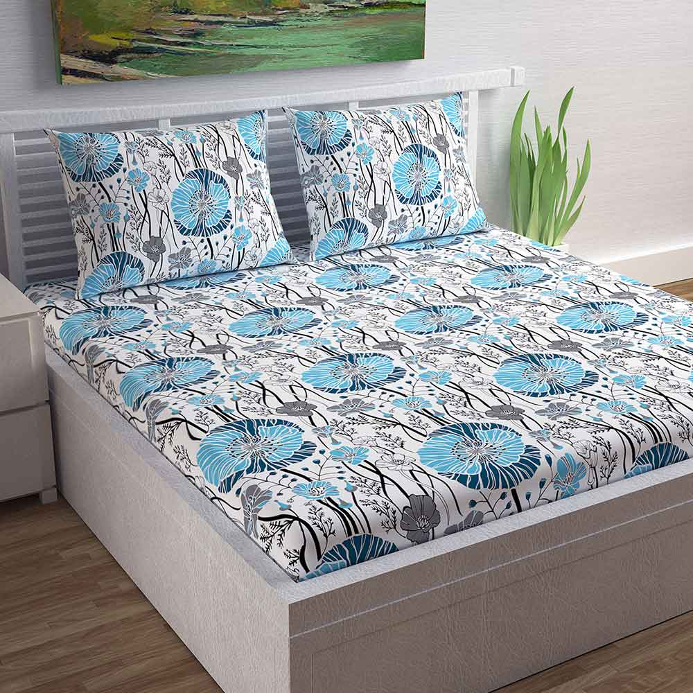 Divine Casa Magic 104 TC Cotton Double Bedsheet with 2 Pillow Covers – Modern, Blue