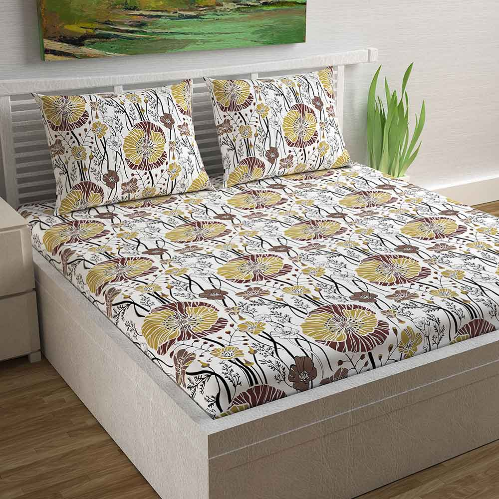 Divine Casa Magic 104 TC Cotton Double Bedsheet with 2 Pillow Covers – Modern, Beige
