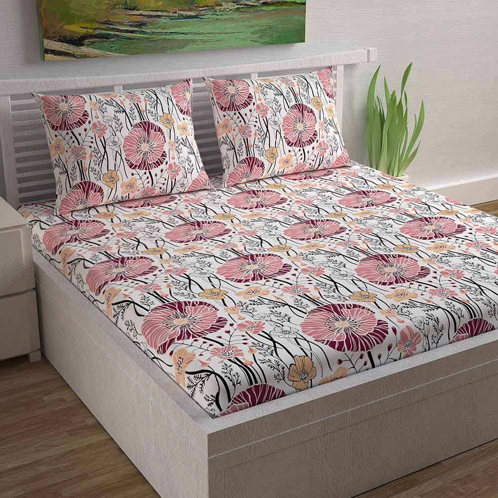 Divine Casa Magic 104 TC Cotton Double Bedsheet with 2 Pillow Covers – Modern, Pink