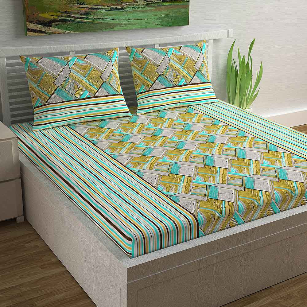 Divine Casa Magic 104 TC Cotton Double Bedsheet with 2 Pillow Covers – Modern, Square Green