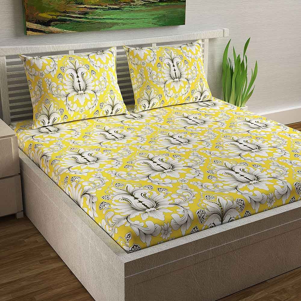 Divine Casa Magic 104 TC Cotton Double Bedsheet with 2 Pillow Covers – Modern, Yellow