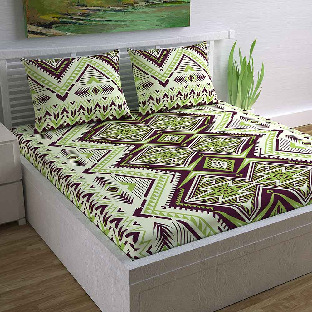 Divine Casa Magic 104 TC Cotton Double Bedsheet with 2 Pillow Covers – Modern, Green Abstract
