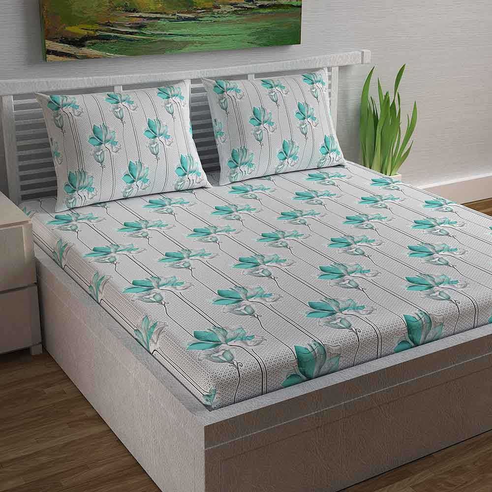 Divine Casa Magic 104 TC Cotton Double Bedsheet with 2 Pillow Covers – Modern, Turquoise Green/Stripe