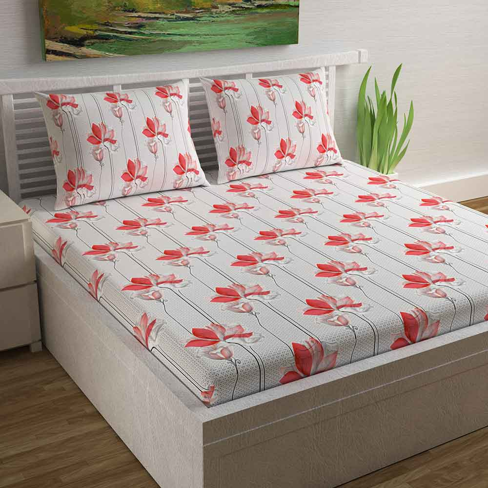 Divine Casa Magic 104 TC Cotton Double Bedsheet with 2 Pillow Covers – Modern, Red/Stripe