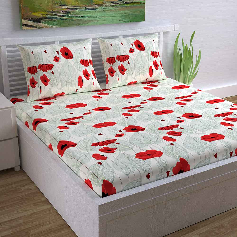 Divine Casa Magic 104 TC Cotton Double Bedsheet with 2 Pillow Covers – Modern, Red/Floral