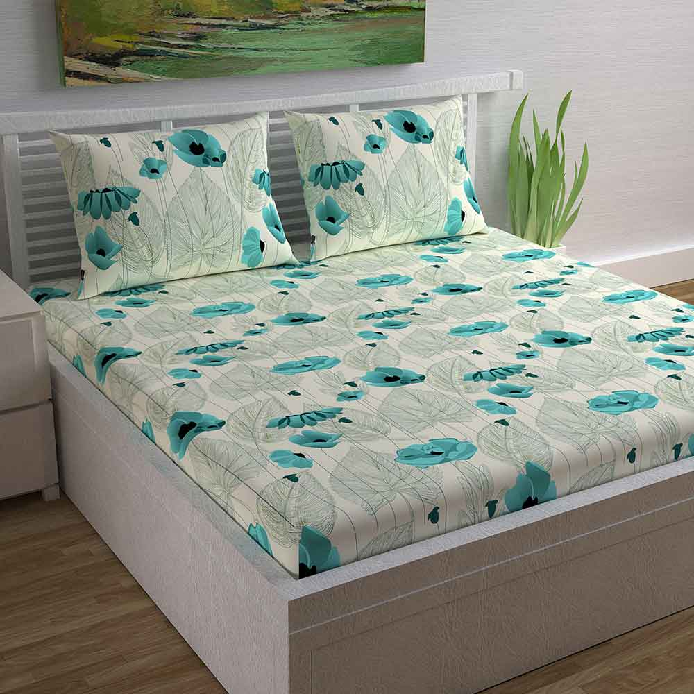 Divine Casa Magic 104 TC Cotton Double Bedsheet with 2 Pillow Covers – Modern, Green/Floral