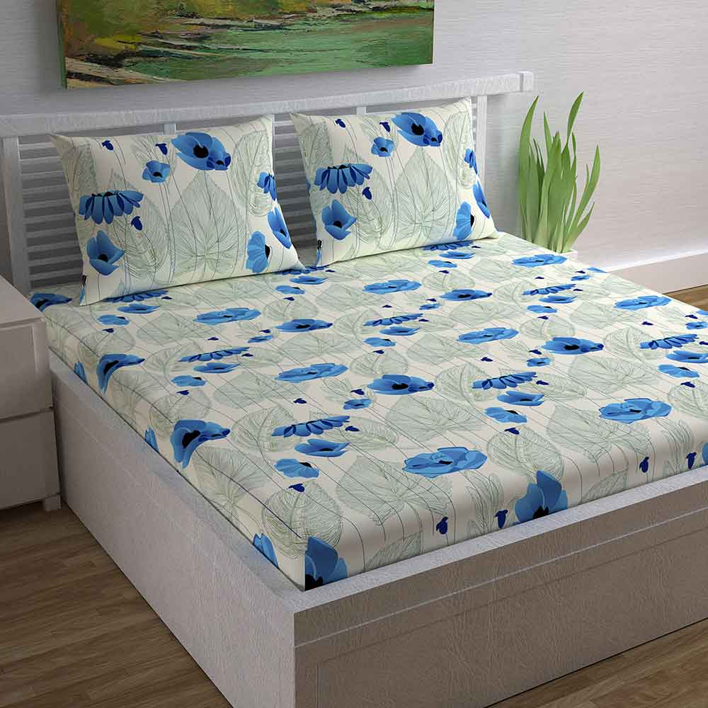 Divine Casa Magic 104 TC Cotton Double Bedsheet with 2 Pillow Covers – Modern, Blue/Floral