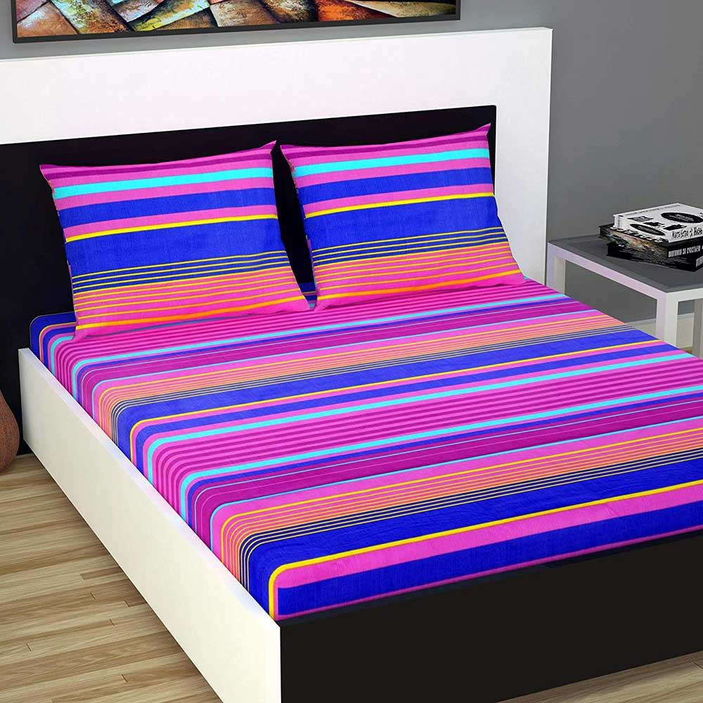 Divine Casa Evan 144 TC Cotton Double Bedsheet with 2 Pillow Covers – Striped, Pink and Blue