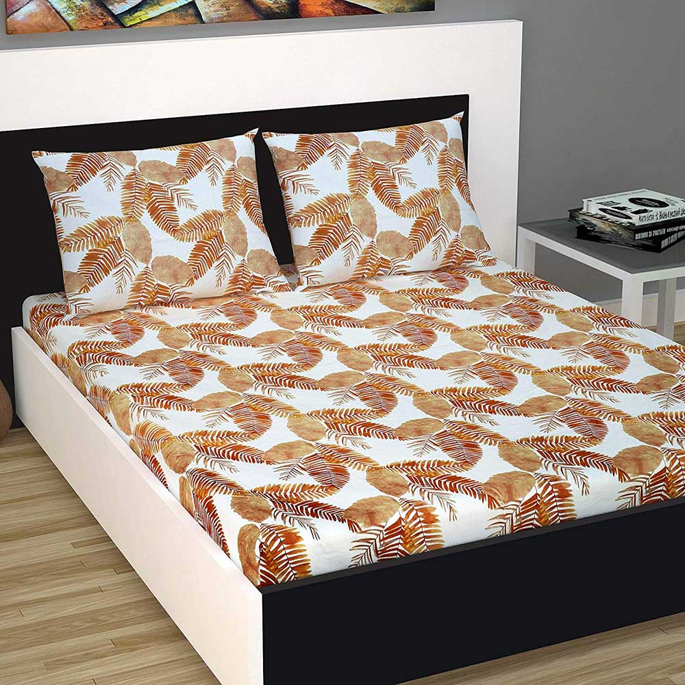 Divine Casa Evan 144 TC Cotton Double Bedsheet with 2 Pillow Covers – Floral, Orange and White