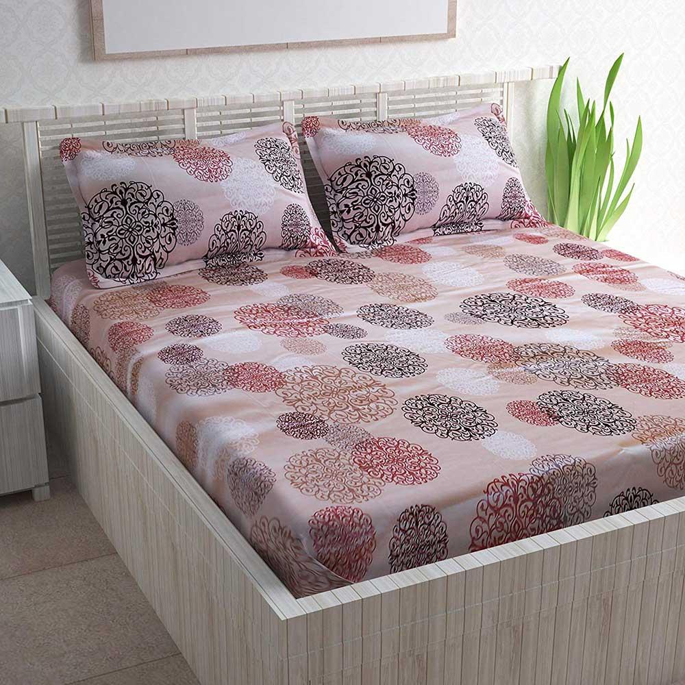 Divine Casa Magic 104 TC Cotton Double Bedsheet with 2 Pillow Covers – Paisley, Pink