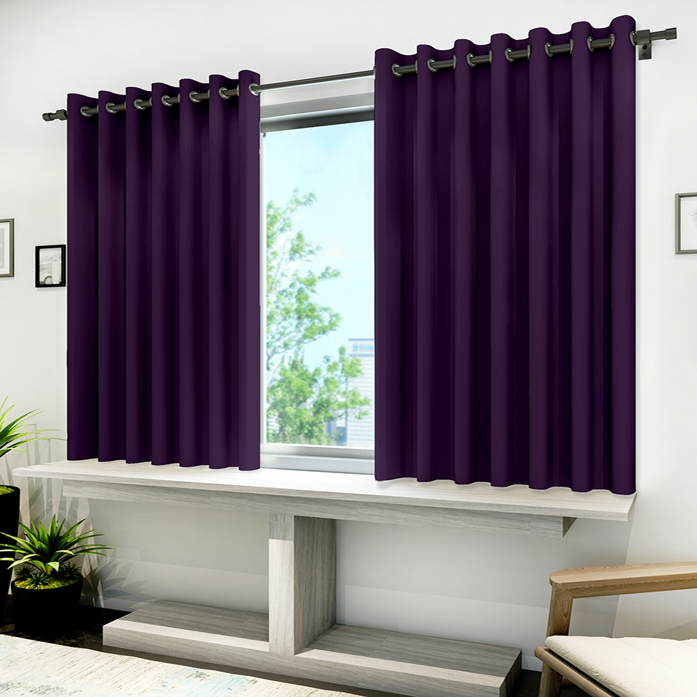 Curl Up 100% Blackout Curtains Room Darkening and Thermal Insulating Window Curtains/Panels/Drapes for Living Room/Bedroom – 8 Grommets per Panel with Tie Backs (1 Panel, W47 x L63 -inch, Dark Purple)