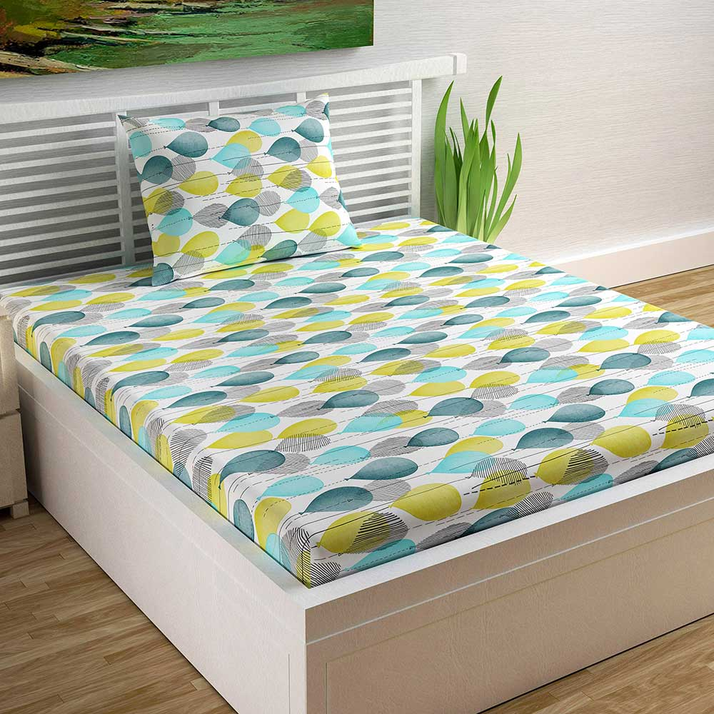Divine Casa 100% Cotton Abstract Single Bedsheet With 1 Pillow Cover – Yellow and Turquoise